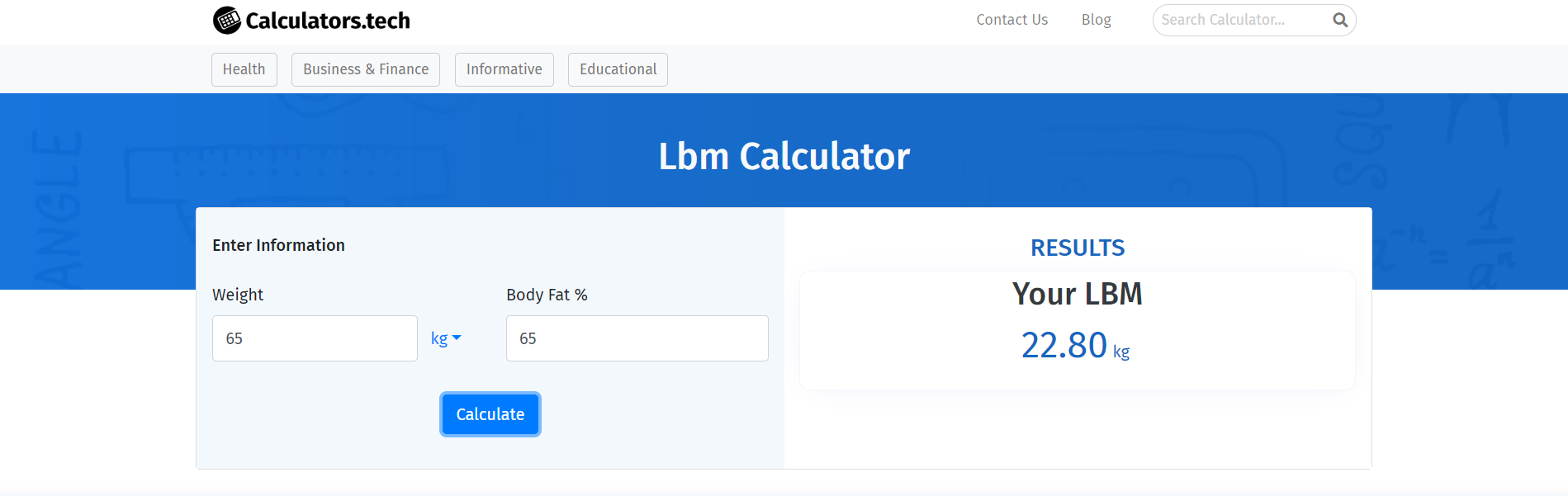 lean body mass calculator usage